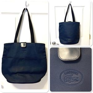 Indigo / Navy Blue Lacoste Shoulder Tote  Bag
